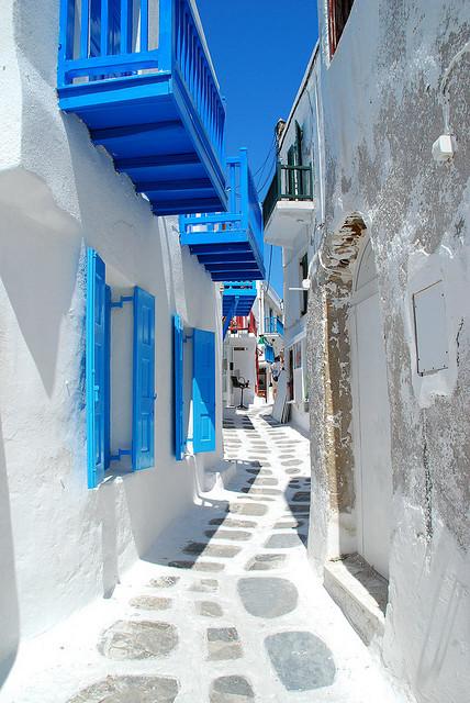 Narrow Street, Mykonos, Greece