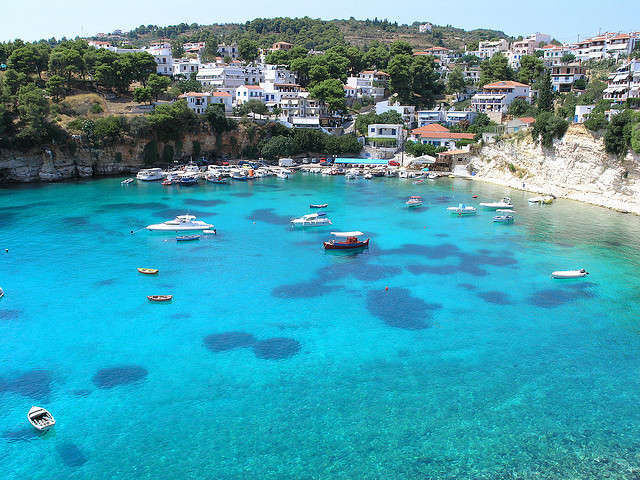 Alonnisos is a Greek island in the Aegean Sea member of the Northern Sporades. In this photo are shown the stunning blue waters from Votsi Harbour. The island and the...