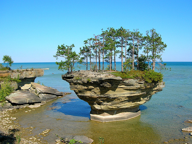 by timmerschester on Flickr.Turnip Rock - Port Austin, Michigan.