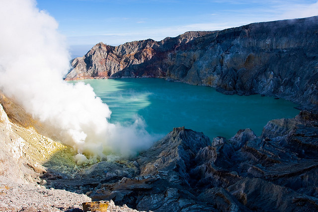 by nmaupu on Flickr.The acid crater lake from Kawah Ijen volcano complex - East Java, Indonesia.