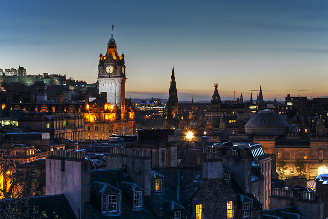 by Mac'Dor on Flickr.Edinburgh evening view from Calton Hill, Scotland.