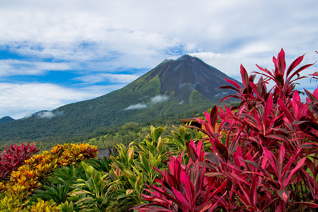 by dcis_steve on Flickr.Arenal Volcano as seen from the grounds of Hotel Nayara, just outside La Fortuna, Costa Rica.