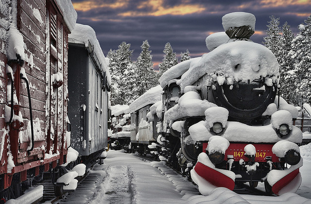 by Wiking66 on Flickr.Sunset at the Railway museum in Karlsvik, northern Sweden.