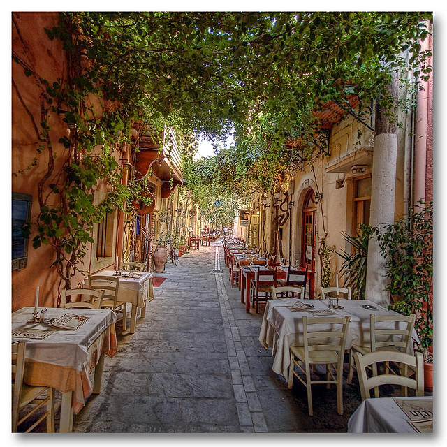 by Giorgos on Flickr.Dinner time on the streets of Rethymno, Crete island, Greece.