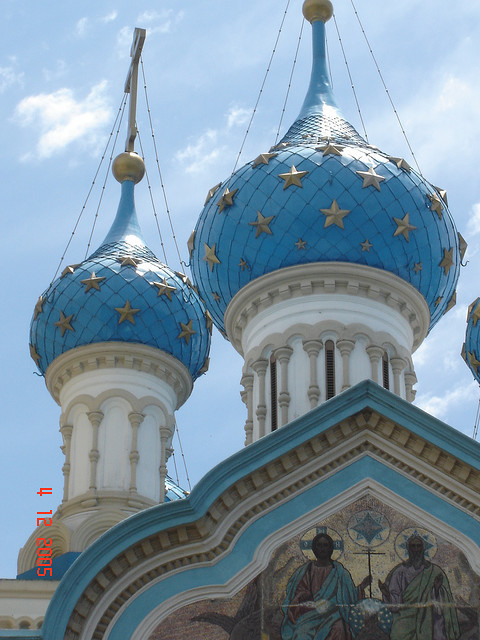 by JohannRela on Flickr.Towers of a russian orthodox church in Buenos Aires, Argentina.