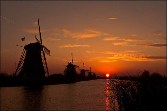by sven483 on Flickr.Sunrise at Kinderdijk Windmills, The Netherlands.