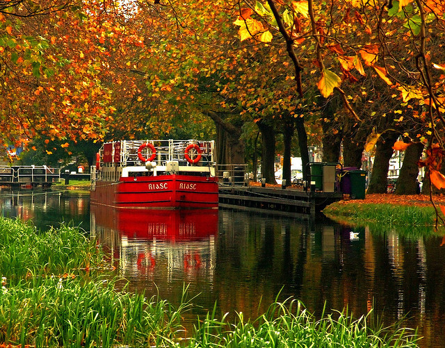 by Steve-h on Flickr.Reflections in the Grand Canal of Dublin, Ireland.