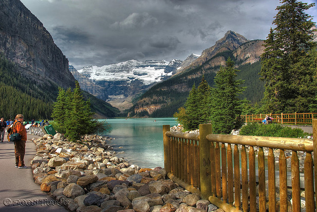 by T J  on Flickr.Summer walk on the shores of Lake Louise in Banff National Park, Canada.