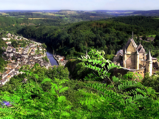 Spectacular panoramic view over the town and castle of Vianden in Luxembourg
