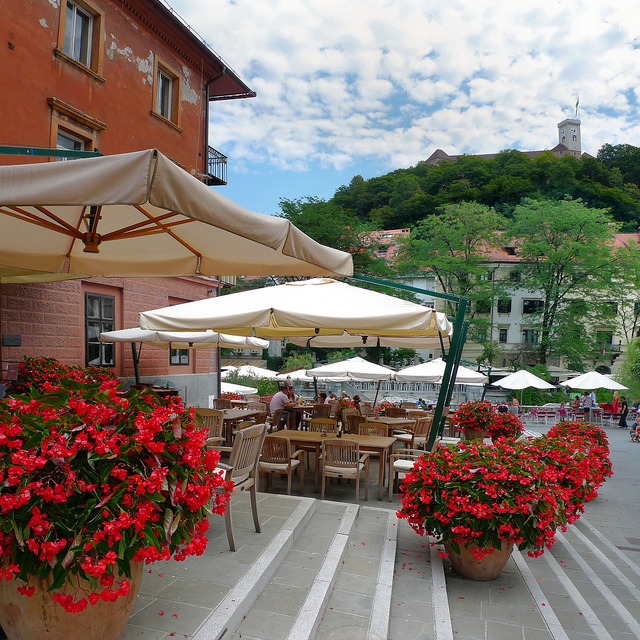 Inviting flower terrace in the beloved old Ljubljana, Slovenia