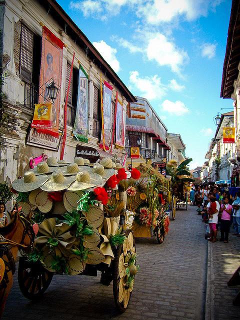 Calesa Parade in the Unesco heritage city of Vigan, Ilocos Sur, Philippines