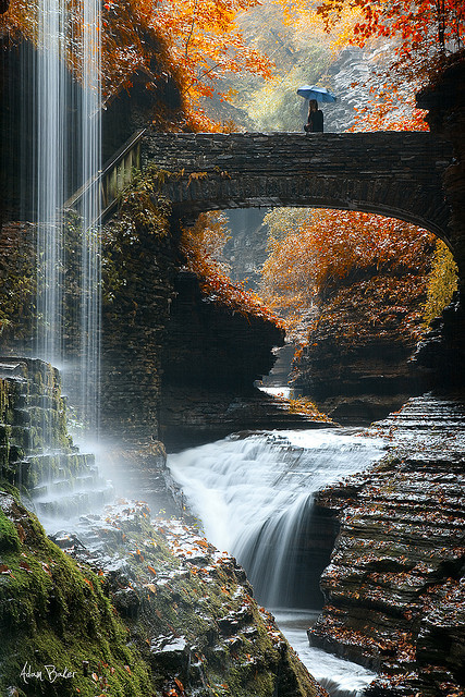 Rainbow Falls in Watkins Glen State Park, NY, USA