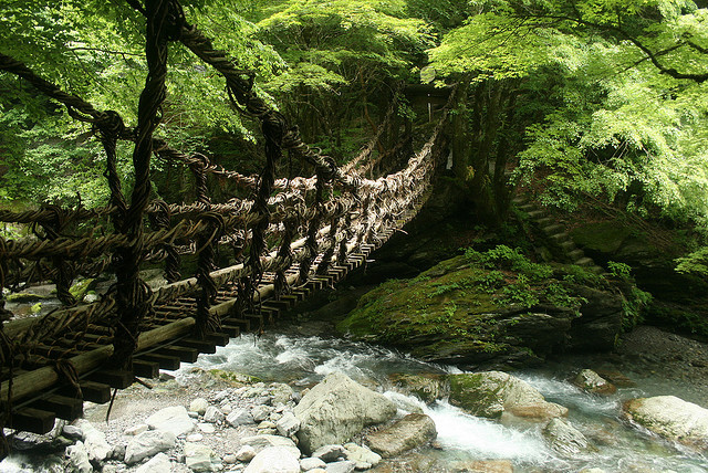 Suspended bridge across Iya Valley, Shikoku island, Japan