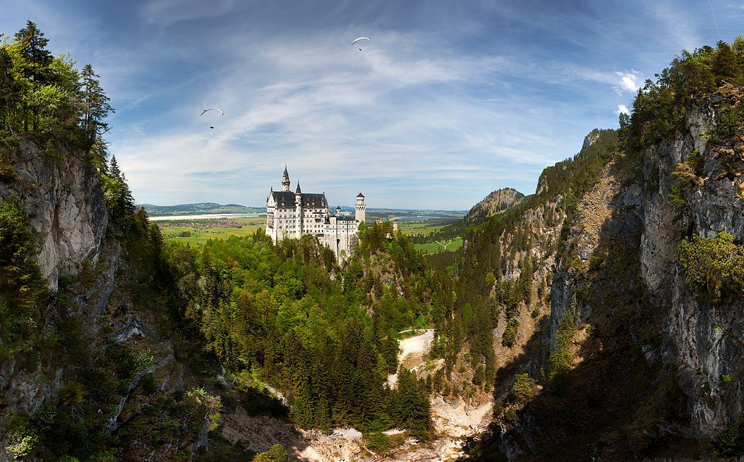 Fairytale Neuschwanstein Castle panorama, Bavaria, Germany