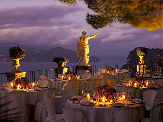 Al fresco dining at Hotel Caesar Augustus, Capri Island, Italy
