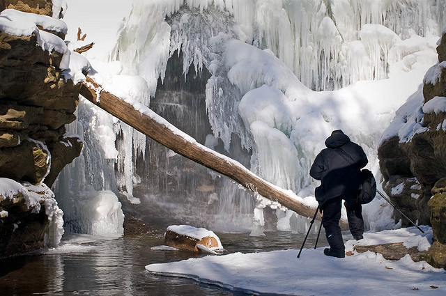 Frozen waterfalls in Starved Rock State Park, LaSalle County, Illinois, USA