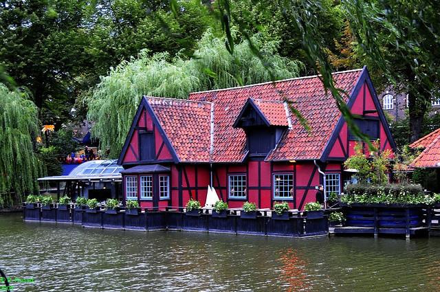 Waterfront house in Tivoli Gardens, Copenhagen, Denmark