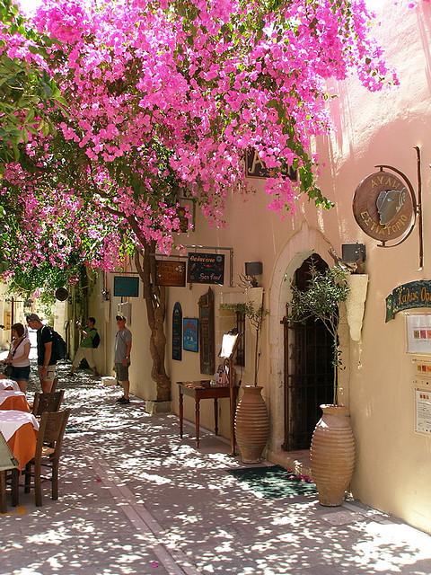 Street scene with the bouganvillea vines in bloom, Rethymno, Greece