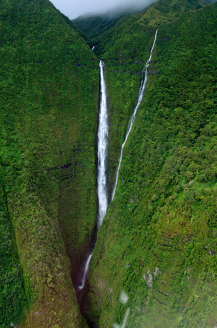 Kahiwa Falls on Molokai Island, Hawaii, USA