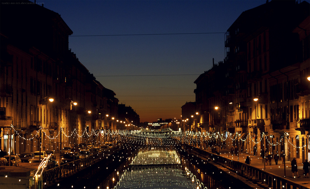 Canal Lights, Milan, Italy