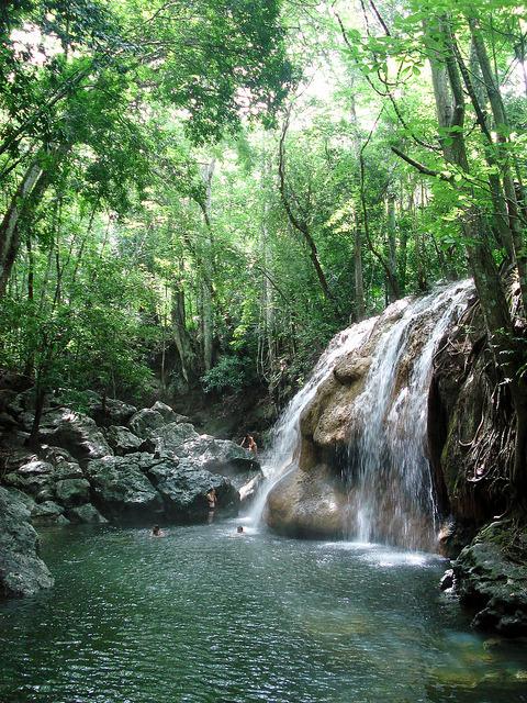 Hot thermal waters at Finca el Paraiso Waterfall, Guatemala