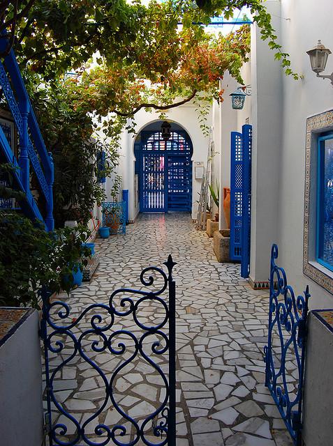 Lovely courtyard in Sidi Bou Said, Tunisia