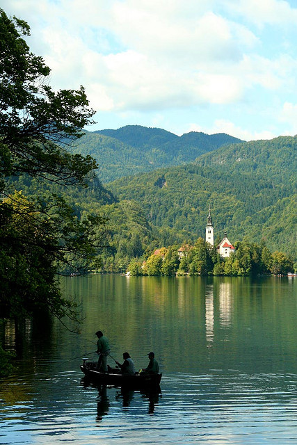 Fishing on Lake Bled, Slovenia
