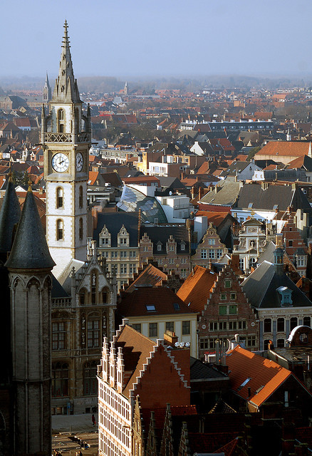 Guildhouses and clock tower in Ghent, Belgium