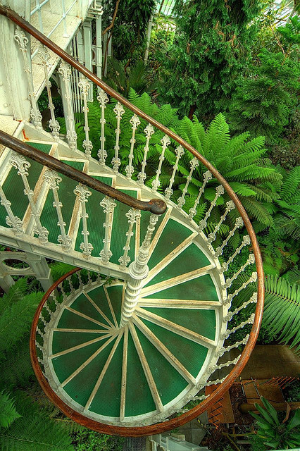 Beautiful victorian cast iron spiral staircase in Kew Gardens, Sussex, England