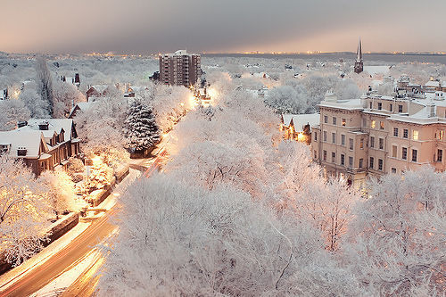 Snowy Dusk, London, England