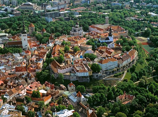 Toompea Hill seen from above in Tallinn, Estonia