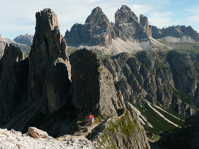 Fonda Savio Refuge on the ridges of the Dolomites, Italy