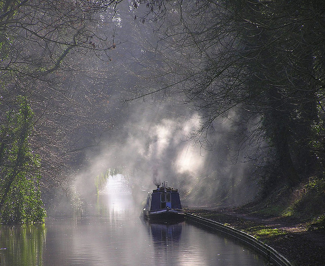 Early morning light on Shropshire Union Canal, England