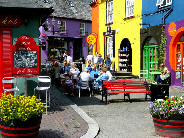 Street scene in the colorful village of Kinsale, County Cork, Ireland