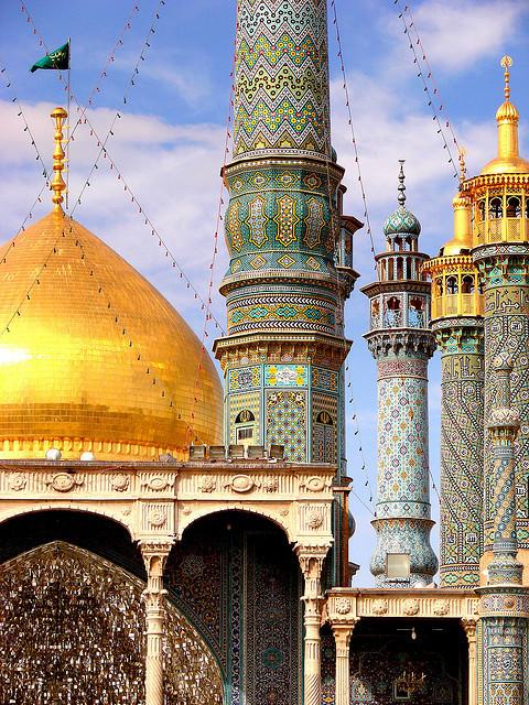 Hazrat-e Masumeh Mosque minarets in Qom, Iran