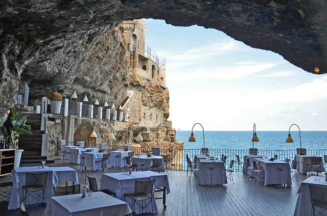 Grotta Palazzese Restaurant near Polignano a Mare, Apulia, Italy