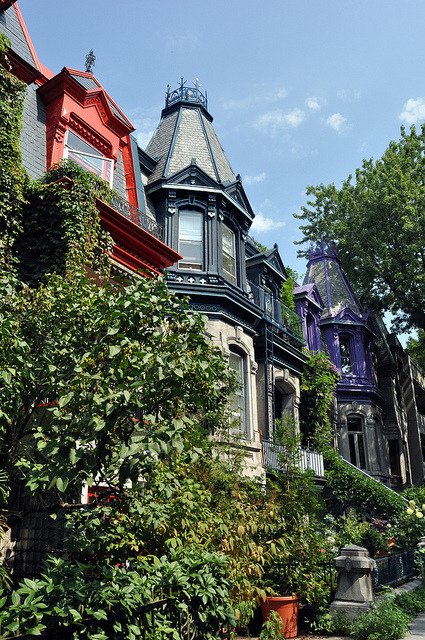 Beautiful houses in St. Louis Square, Montreal, Canada