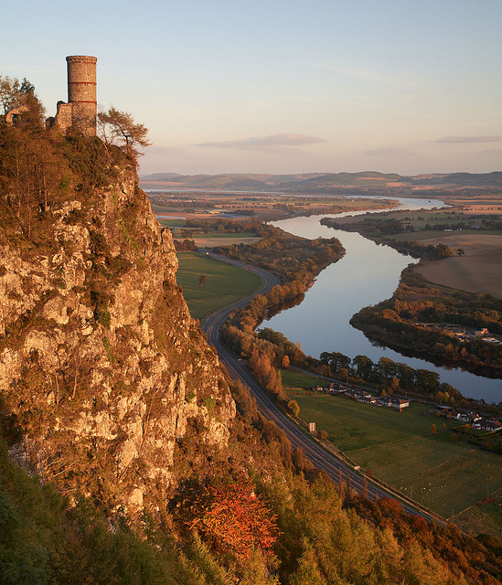 Kinnoul Tower overlooking River Tay, near Perth, Scotland