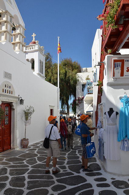 Shopping on the streets of Mykonos, Greece