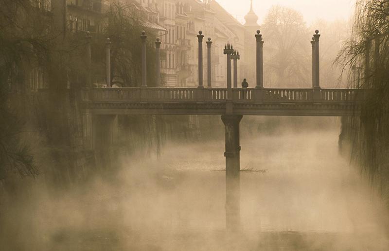 Foggy Bridge, St. Petersburg, Russia