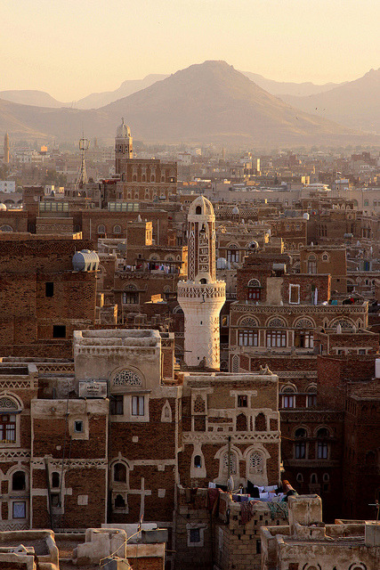 Sunset in the old city of Sana'a, Yemen