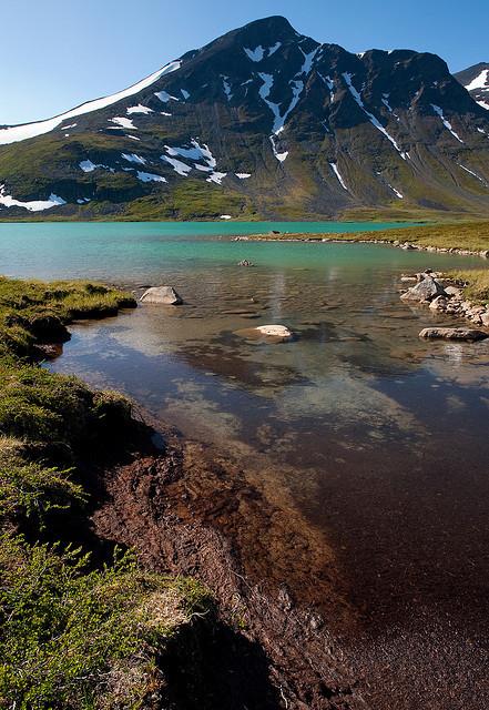 Glacial lake in Sarek National Park, Lapland, Sweden