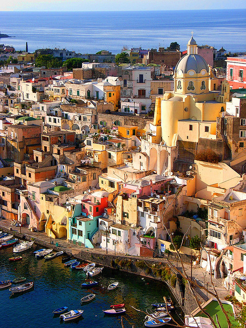 Picturesque village of Corricella in Procida Island, Italy