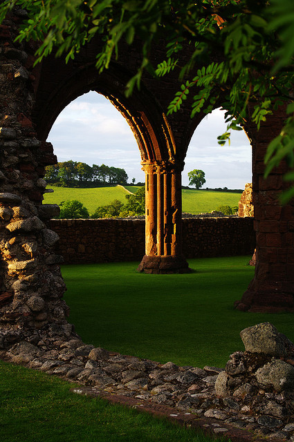 Ruins of Sweetheart Abbey, south of Dumfries, Scotland