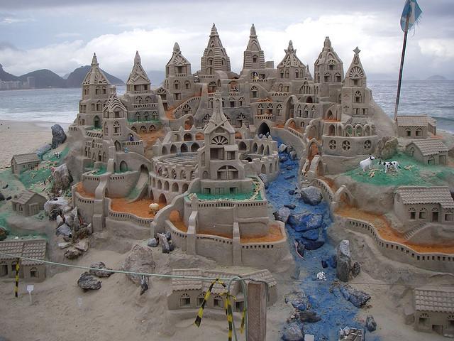 Sand castle on Copacabana beach, Rio de Janeiro, Brazil