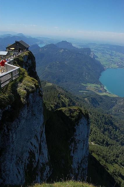 Mountain hut on top of Schafberg Mountain, Salzkammergut, Austria