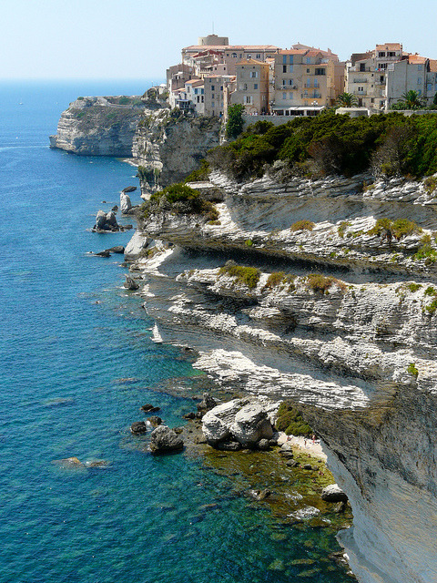 Cliffside houses of Bonifacio in Corsica, France