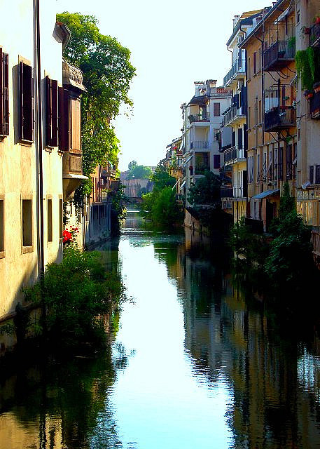 A view down the waterways of Padova, Italy