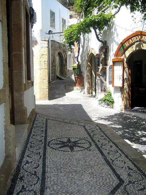 Street scene in Lindos, Rhodes Island, Greece