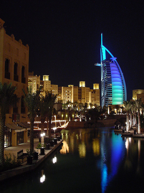 Night view of Burj al Arab Hotel from the Madinat Jumeirah in Dubai, UAE